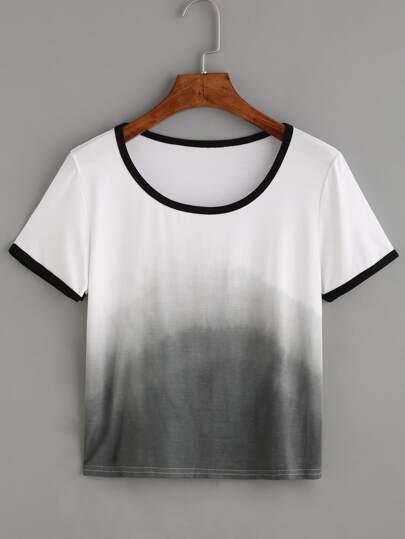 Ombre Contrast Trim T-shirt