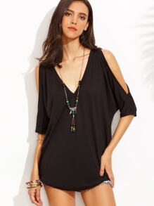 Black V Neck Clod Shouder Shift Dress