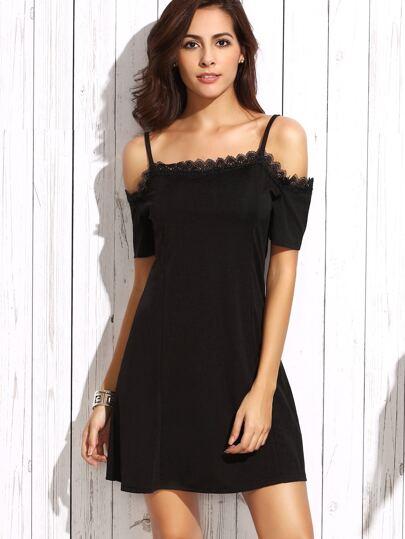 Black Cold Shoulder Lace Trim Dress