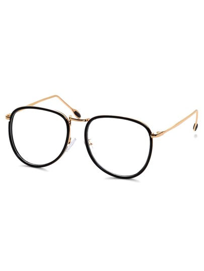 Retro Aviator Clear Lens Black Metal Frame Glasses