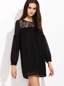 Black Lace Yoke Drop Shoulder Shift Dress