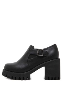 Black Round Toe Buckle Chunky Pumps