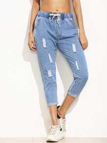 Blue Ripped Roll Hem Drawstring Jeans