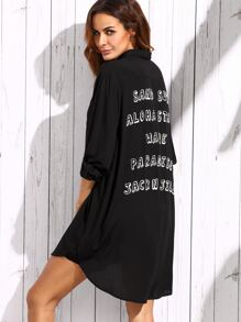 Black Letter Print Shirt Dress