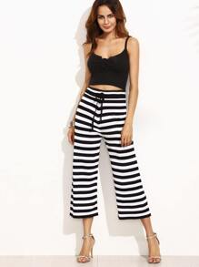 Contrast Striped Wide Leg Drawstring Pants