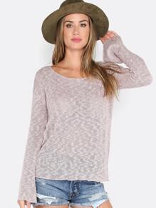 Loose Knit Scoop Neck Sweater MAUVE