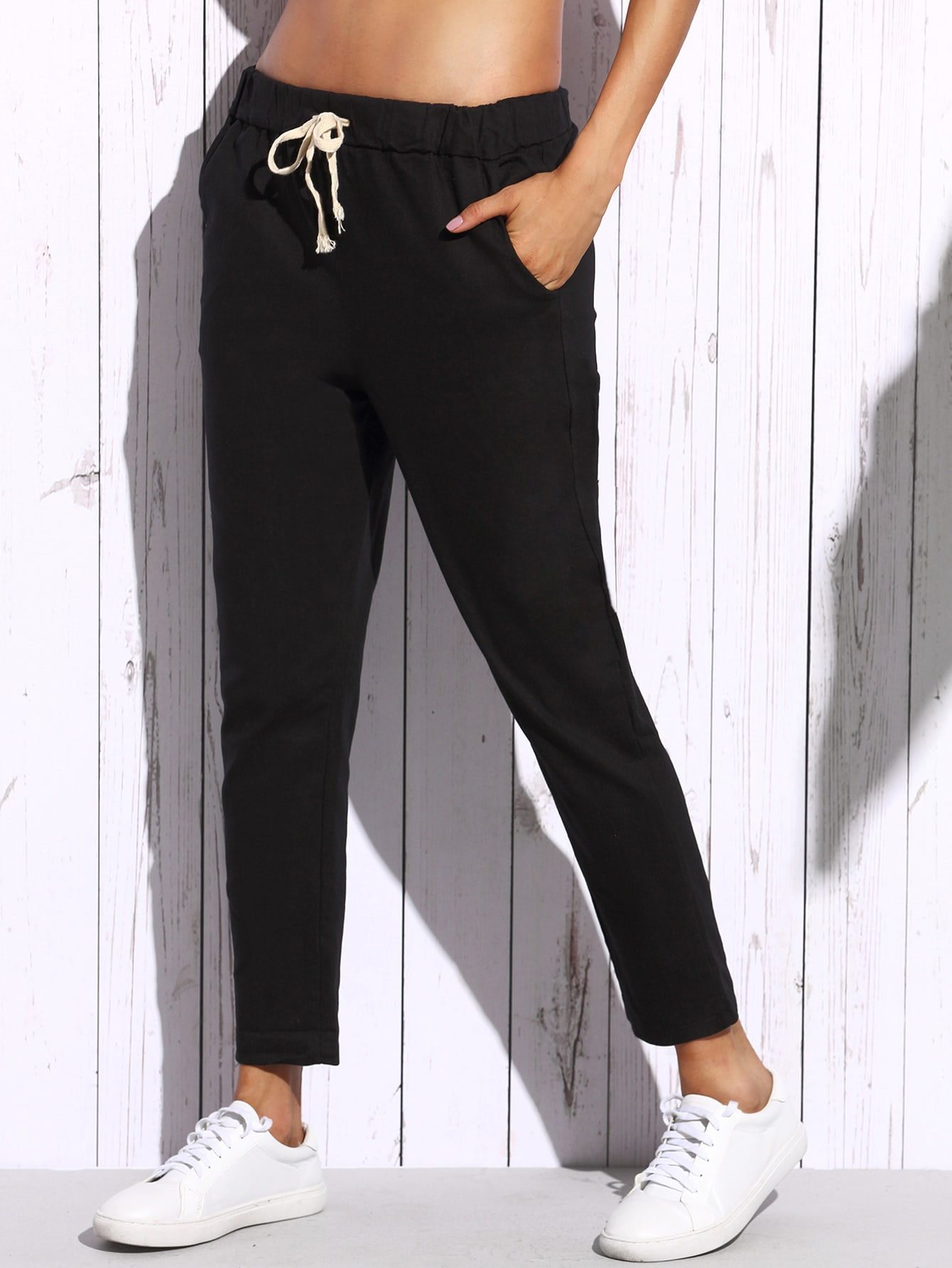Drawstring Waist Ankle Tapered Jeans