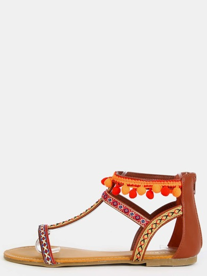 Embroidered Pom Pom Sandals CHESTNUT