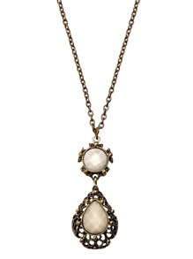 Antique Bronze Faux Gem Inlay Cutout Etched Necklace