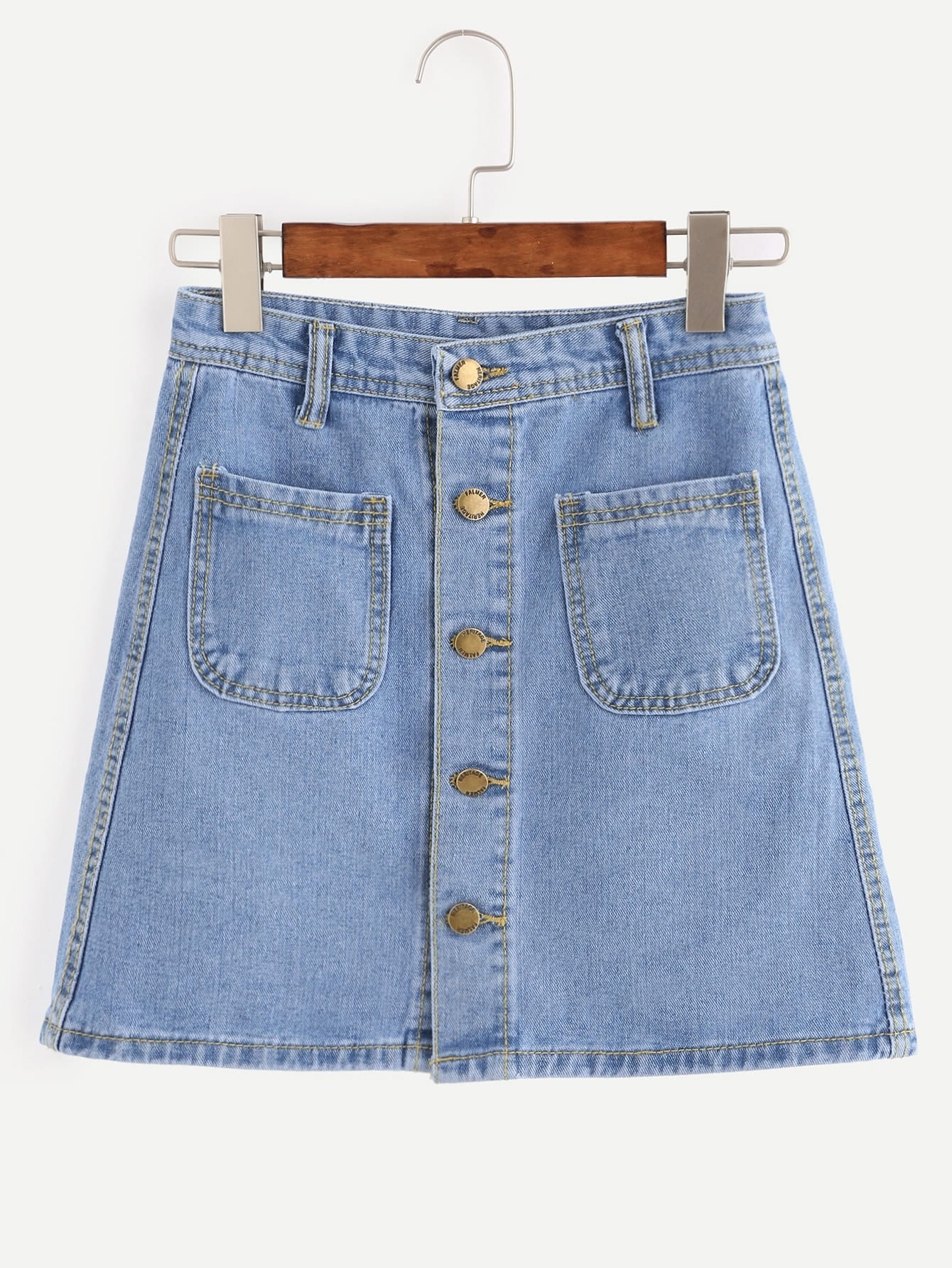 Image of Blue Button Front Dual Pocket A Line Denim Skirt