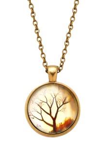Bronze Tree Print Glass Pendant Necklace