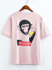 Pink Graphic Print Drop Shoulder T-shirt