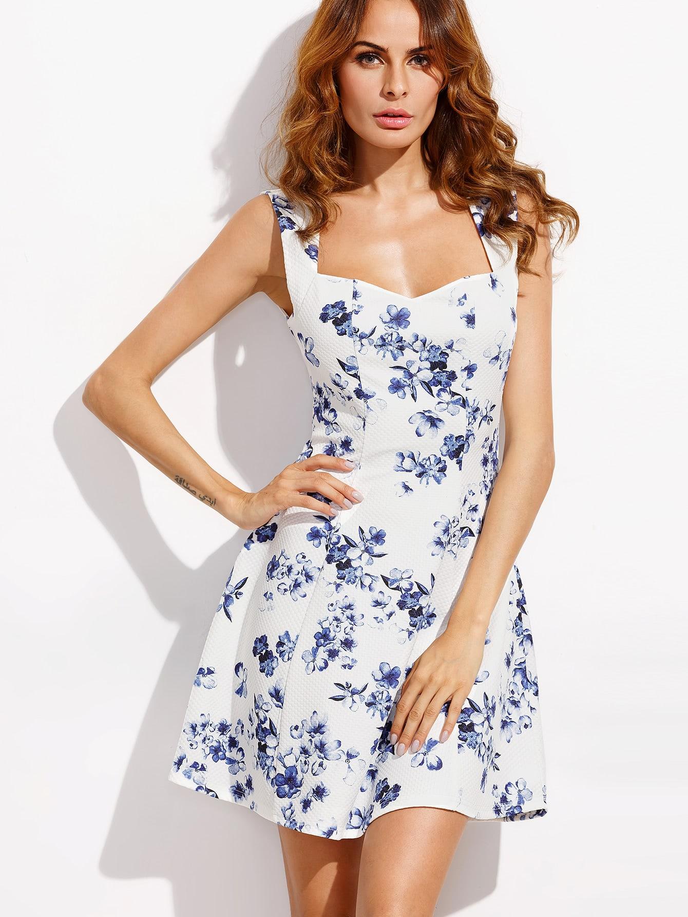 Фото Floral Print Sweetheart Neck Circle Dress. Купить с доставкой