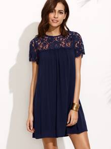 Dark Blue Round Neck Lace Short Sleeve Shift Dress
