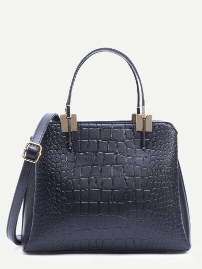 Black Crocodile Embossed Layered Satchel Bag