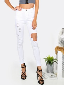 Distressed Highwaist Denim Pants WHITE