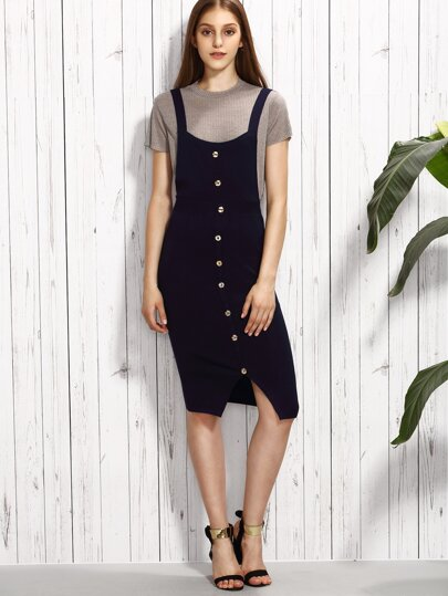 Navy Button Front Knitted Overall Dress