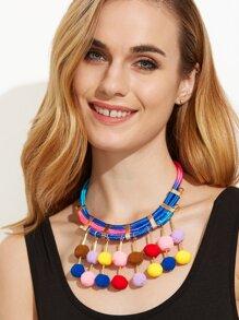 Multicolor Pom Pom Pendant Statement Necklace