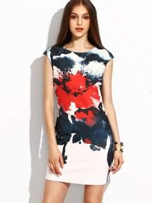 White Flower Ink Painting Print Sheath Dress