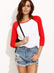 Color Block Round Neck Three Quarter Sleeve T-shirt