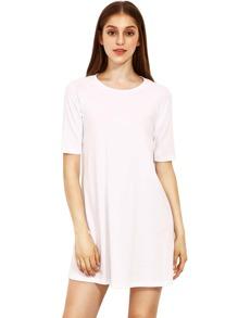 Beige Round Neck Inch Half Sleeve Loose Dress