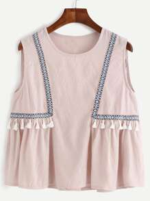 Pink Embroidered Tape Detail Tassel Trim Top