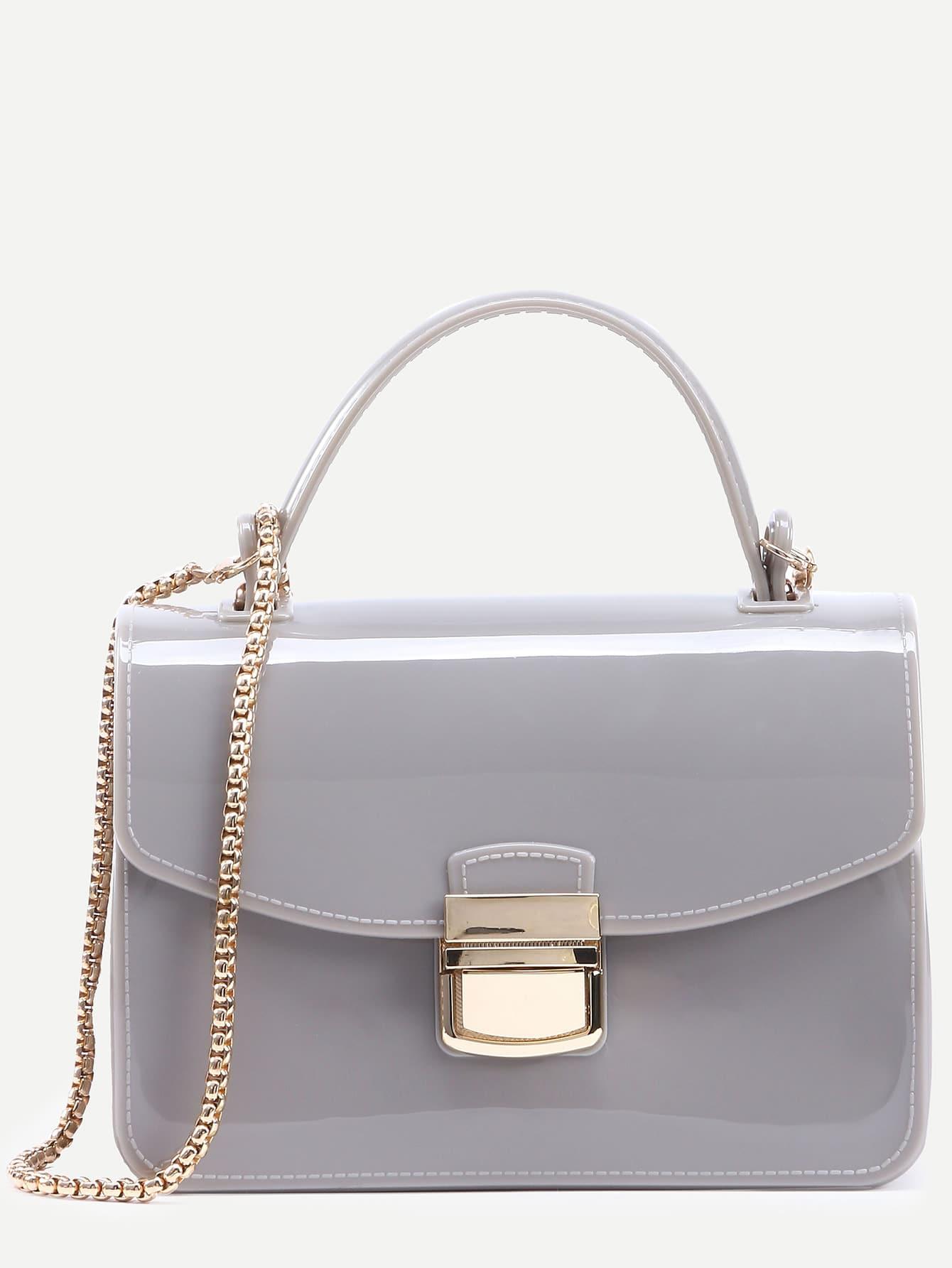 Фото Light Grey Pushlock Closure Plastic Handbag With Chain. Купить с доставкой