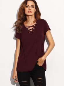 Lace Up Front V Neckline Tee