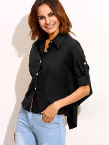 Black Roll Tab Sleeve Tie Back High Low Blouse