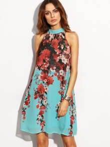 Floral Halter Neck Keyhole Back Dress