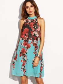 Floral Print Monk Neck Sleeveless Shift Dress