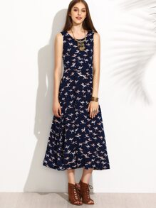 Navy Sleeveless Bird Printed Pleated Midi Dress