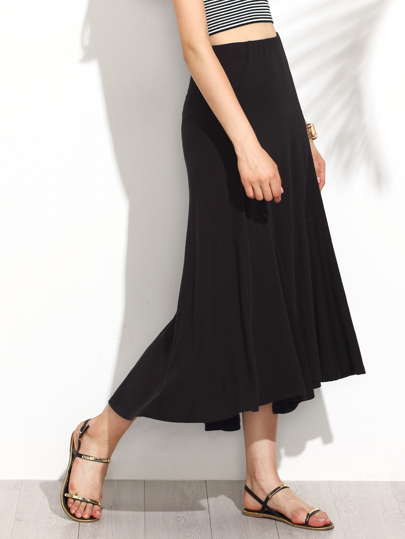 Elastic Waist Dip Hem Pleated Skirt
