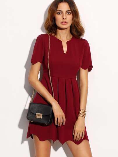 Scalloped Burgundy Notch Neck A Line Dress
