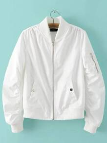 White Rib-knit Cuff Zipper Pocket Jacket