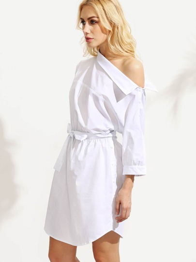 White One Shoulder Tie Waist Dress