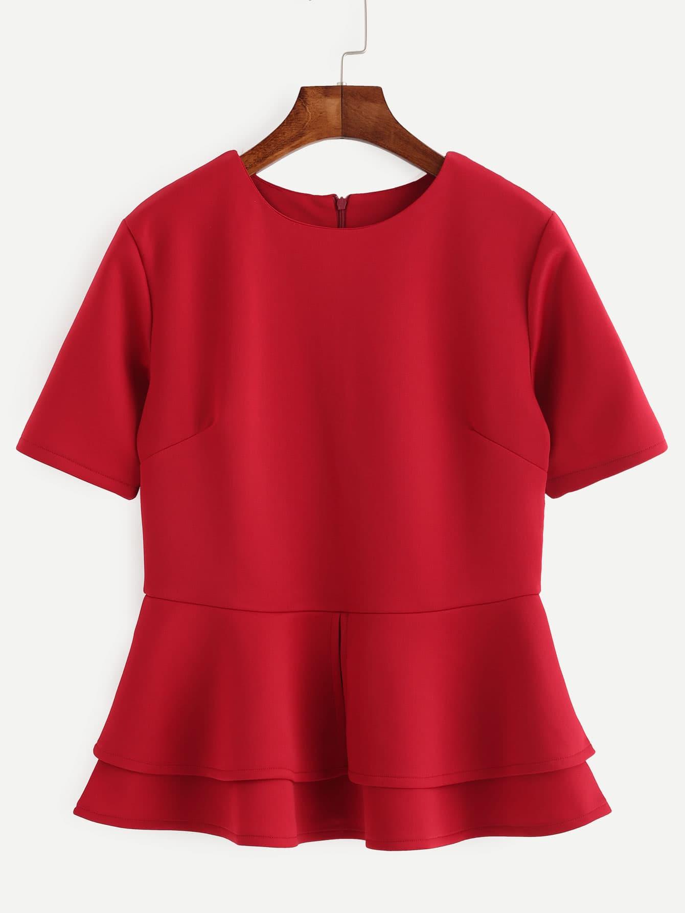 Red Zip Back Layered Peplum Top blouse160720014