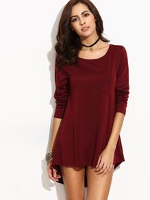 Burgundy High Low Pocket Dress