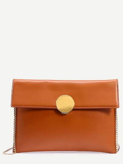 Camel Circle Lock Envelope Clutch Bag With Chain
