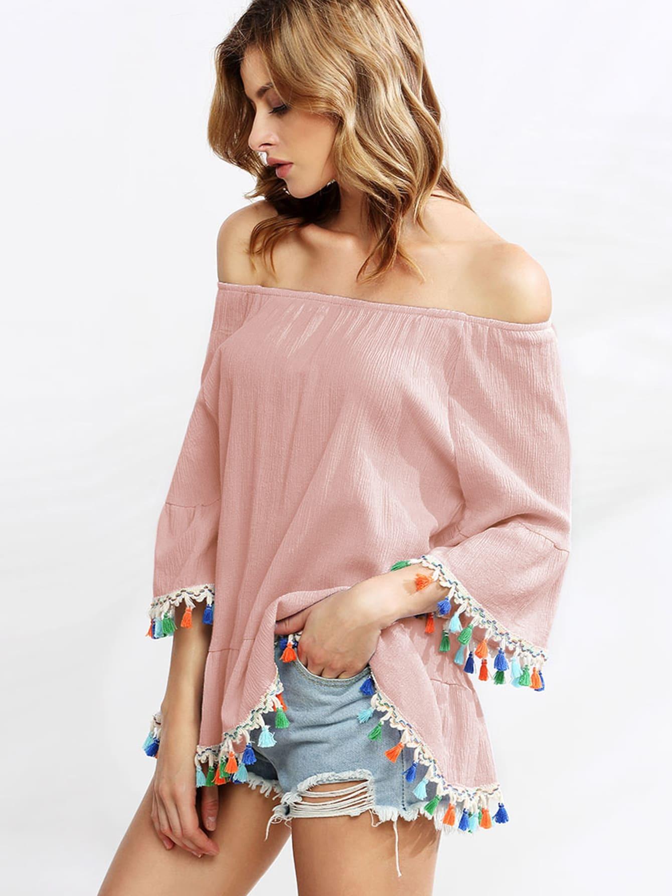 Pink Off The Shoulder Bell Sleeve Tassel Trimmed Blouse blouse160729008