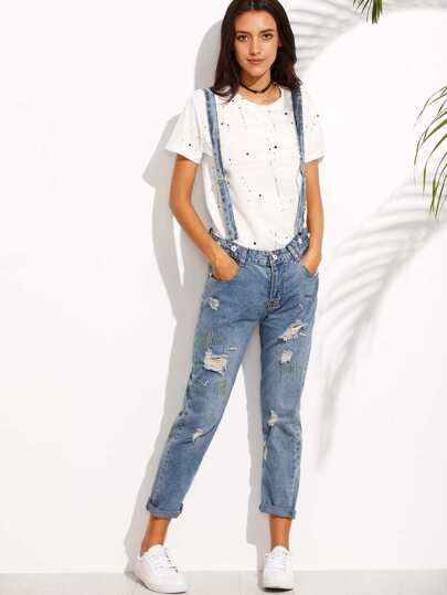 Ripped Embroidered Cuffed Jeans With Strap