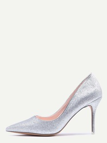 Silver Glitter Pointed Toe Pumps
