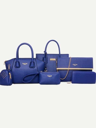 Faux Leather 6PCS Bag Set - Royal Blue