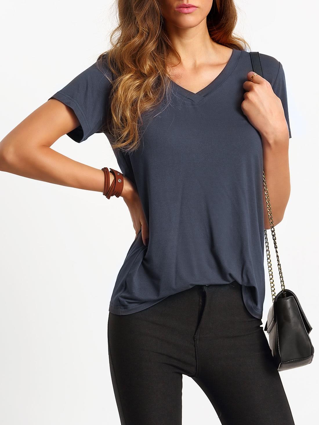 Фото V-Cut Short Sleeve Casual T-shirt. Купить с доставкой