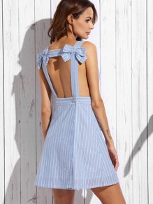 Blue Stripe Bow Open Back Sleeveless A-line Dress