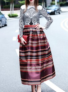 Multicolor Crew Neck Top With Print Skirt