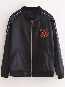 Black Crew Neck Embroidery Pocket Jacket
