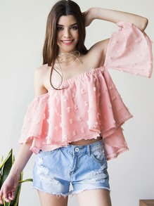 Pink Frayed Off The Shoulder Top