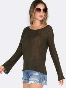 Raw Edge Knit Bell Sleeve Sweater OLIVE