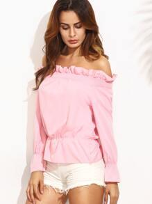 Pink Off The Shoulder Ruffle Long Sleeve Peplum Blouse